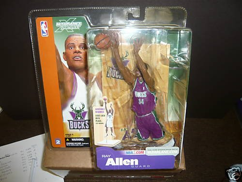 "Ray Allen ""Rare Purple Jersey"" Bucks Variant McFarlane NBA Series 2 Action Figure"
