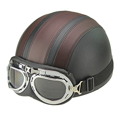 Mcitymall77 Motorcycle Motorbike Scooter Open Face Half Leather Helmet with Visor UV Goggles Retro Vintage Style 55-60cm + Visor + Goggles + Scarf Brown