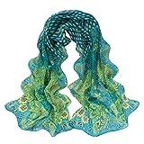 Vovotrade® Women Peacock Pattern Soft Silk Chiffon Shawl Wrap Wraps Scarf (Green)