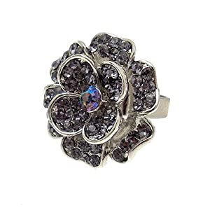 Acosta - Tanzanite Purple Crystal - Adjustable Fashion Jewellery Flower Ring