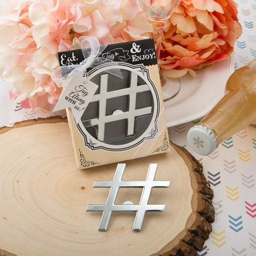 50 'Hashtag Love' Collection Chrome Finish Silver Metal Bottle Opener by Fashioncraft
