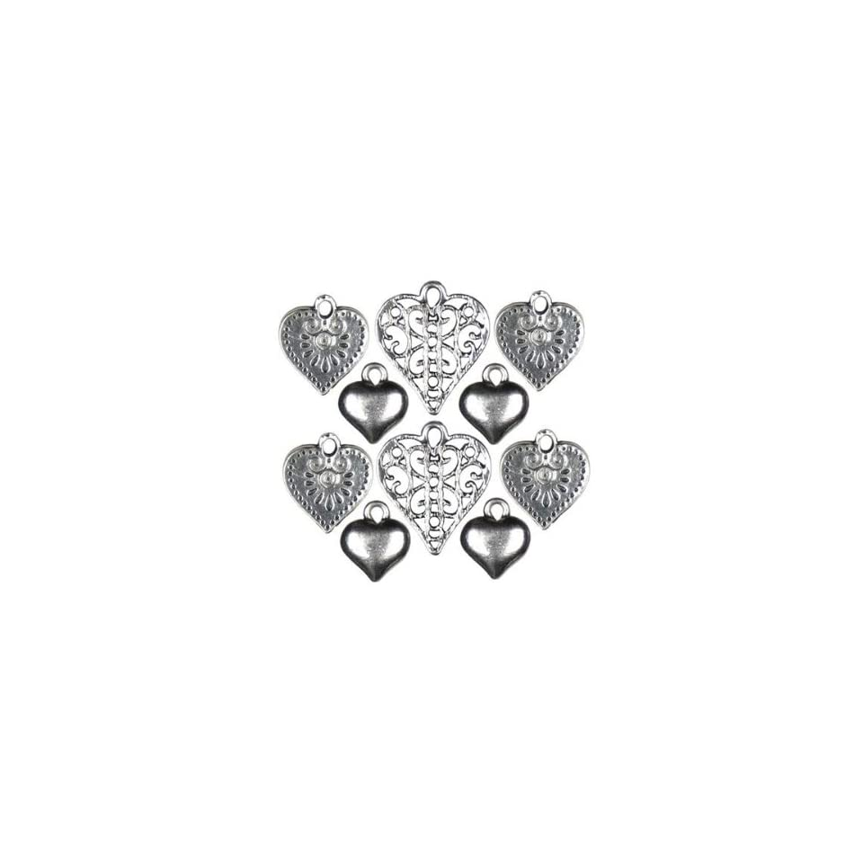 Cousin Jewelry Basics 10 Piece Silver Mixed Heart Charm