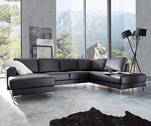 Couch-Silas-Schwarz-300x200-cm-Ottomane-Rechts-Designer-Wohnlandschaft