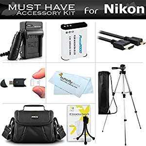 "Essential Accessories Kit For Nikon COOLPIX P900, P610, P600, B700 Wi-Fi Digital Camera Includes Replacement (2200maH) EN-EL23 Battery + Ac/Dc Charger + Micro HDMI Cable + Case + 57"" Tripod + More"