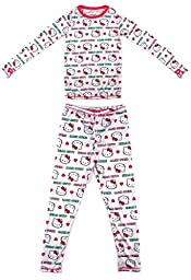 Cuddl Duds Girls Long Sleeve Crew Neck and Pant Thermal Set-Hello Kitty, L (10-12)