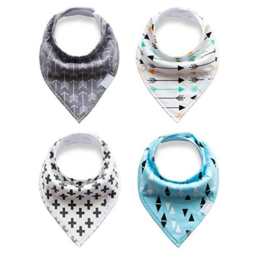 Baby Bandana Drool and Dribble Bibs for Boys and for Girls - (Set of 4, Gift Set) - Best for Babies Drooling, Teething and Feeding (design 4) (Full Bathtub compare prices)