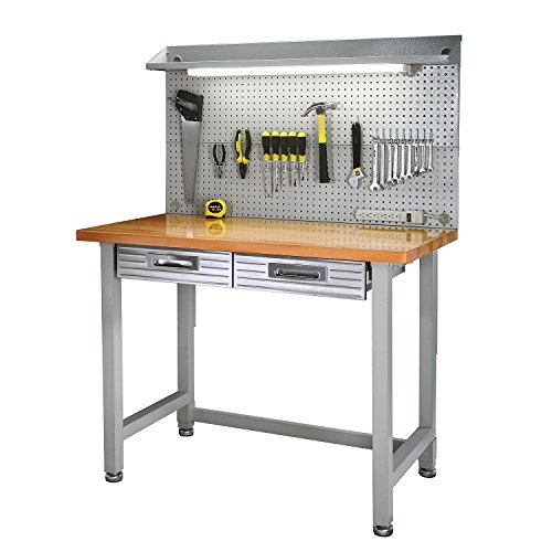 Heavy Duty Lighted Workbench Wood Hardwood Top Tool Box Storage Drawer Shelving (Milk Shed Heater compare prices)
