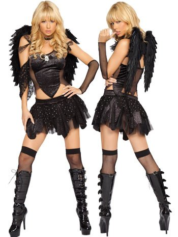 Sexy Black Twilight Raven Angel Costume - MEDIUM/LARGE