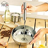 Semi-automatic Eggbeater Manual Self Turning Stainless Steel Whisk Hand Mixer Blender