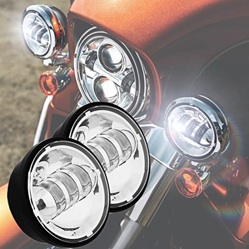 2Pcs 4.5Inch 30W CREE LED Motorcycle Fog Light Kit Work Driving Lamp for Harley (Motorcycle Driving Lights Chrome compare prices)