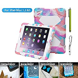 Aceguarder global design new products iPad mini 1&2&3 case snowproof waterproof dirtproof shockproof cover case with stand Super protection for kids Outdoor adventure sports tourism Gifts Outdoor Carabiner + whistle + handwritten touch pen (ACEGUARDER brand) (Pink Camo/White)