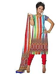 BalajiWomen's Crepe Unstitched dress material(105-multicolor-free size)
