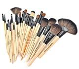 Afunti 24pcs Professional Synthetic Cosmetic Makeup Brush Set Kit Brushes Tools Make Up With Case (Wood)