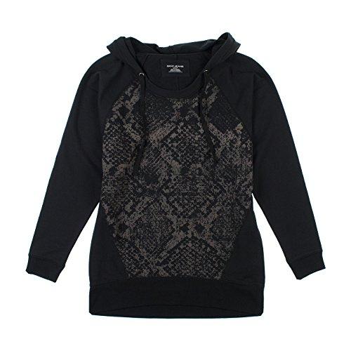 dkny-jeans-ladies-tunic-with-hood-black-animal-medium