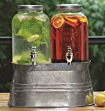 Circleware © Country Yorkshire Mason Jar Double Glass Beverage Drink Dispenser with Decorative Metal Stand and Metal Lids, 1 Gallon Each