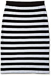 Anaphora Women's Pencil Skirt (56122_Black and White_28)