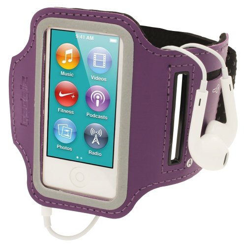 igadgitz Purple Reflective Anti-Slip Neoprene Sports Gym Jogging Armband for Apple iPod Nano 7th Generation 16GB