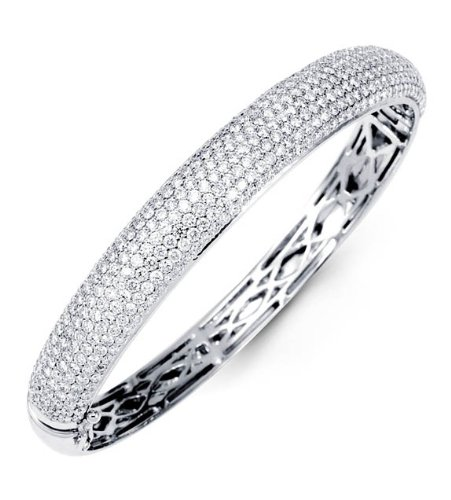 Solid 18K White Gold Bangle Pave Round Diamond