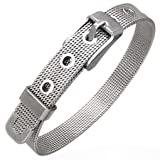 Stainless Steel Silver Tone Mesh Belt Buckle Adjustable Womens Bracelet