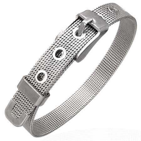 Stainless Steel Mesh Belt Buckle Womens Silver Tone Bracelet