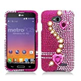 White Pearls and Pink Hearts Diamond Bling Case Cover + ATOM LED Keychain Light for LG Pulse (Virgin Mobile) by ATOM [並行輸入品]