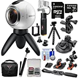 Samsung Gear 360 Spherical VR HD Video Camera Camcorder with 64GB Card + Action Mounts + Case + 6000mAh Power Grip + Tripod + Selfie Stick + Kit