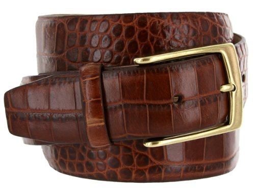 Joseph Gold Buckle Italian Leather Alligator Embossed Designer Dress Belt for Men (34, Brown)