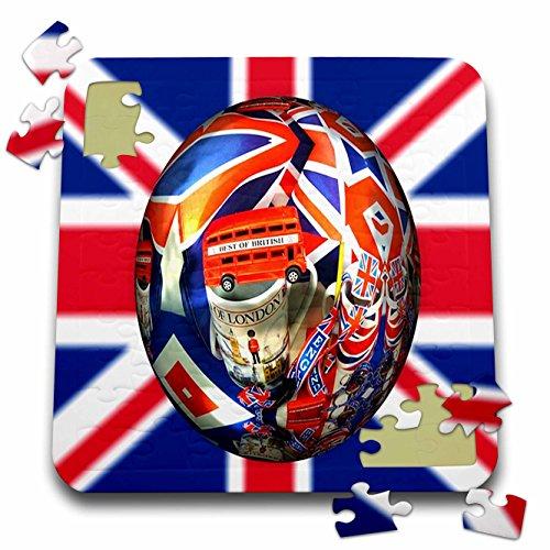 Florene Decorative III - Image of Famous British Symbols On UK Flag - 10x10 Inch Puzzle (pzl_243546_2) (British Flag Puzzle compare prices)