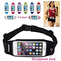 uFashion3C Running Belt Waist Pack with Zipper for iPhone 7, 7 Plus, 6S, 6S Plus, 6, 6 Plus, Galaxy S5, S6, S7, Edge, Note 3, 4, 5, 7, LG G3, G4, G5 with OtterBox/ LifeProof Waterproof Case - 9 Colors