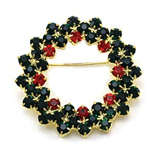 Christmas Wreath Pin Brooch Winter Holiday Red Green