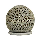 Store Indya Diwali Gifts Hand carved Globe Shaped Candle Holder Tea Lights Lamps Soapstone Carving Lattice Design Home Accent Decorative Table Top Accessory