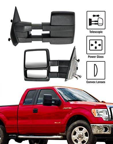 2004-2014 Ford F-150 Towing Mirrors Pair Set Power Glass With Convex Lens Telescoping Pickup Truck Side View Mirrors (2011 F150 Tow Mirrors compare prices)