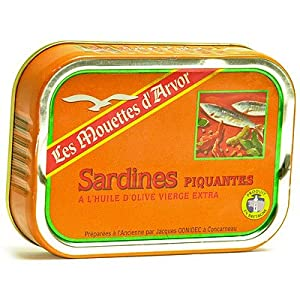 Mouettes Darvor French Sardines In Olive Oil And Pili-pili Spicy Chili Sauce - 4 Oz from Conserverie Gonidec