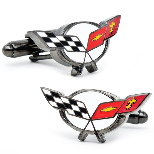 Officially licensed by General Motors Chevy Corvette Racing Flag Cufflinks Cuff Links