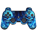 GameXcel ® Sony PS3 Leather Texture Controller Skin - Custom Playstation 3 Remote Vinyl Sticker - Play Station 3 Joystick Decal - Blue Daemon [ Controller Not Included ]