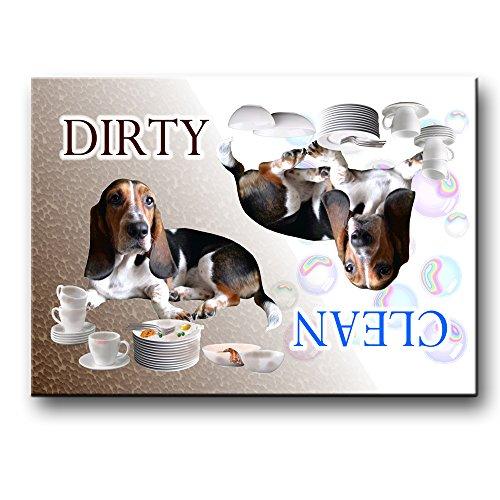 Basset Hound Clean Dirty Dishwasher Magnet No 2