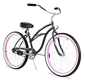 Firmstrong Urban Lady Single Speed Beach Cruiser Bicycle, 26-Inch, Army Green w/ Pink Rims