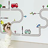 BestOfferBuy Cartoon Car Traffic Road Kid Children Play Room DIY Removable Wall Sticker Decal