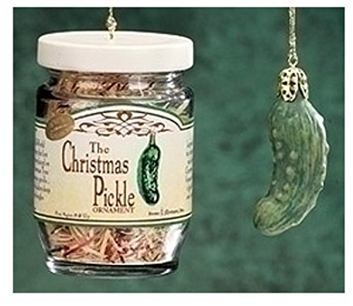 Roman 2-Piece Exclusive Christmas Pickle and Decorated Glass Jar Hanging Ornament, 1.5-Inch