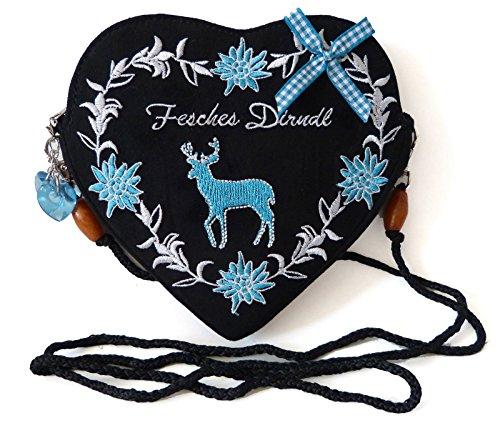 Damen-Dirndltasche-Trachtentasche-Herz-Umhngetasche-Herztasche-zum-Dirndl-Fesches-Dirndl-Hirsch-trkis