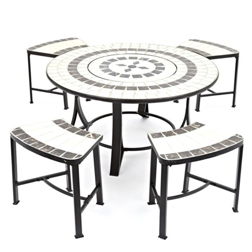 Trueshopping Orion Tile Top B.b.q. / Patio Burner Table Set Includes: Fire Pit, Bbq Grill, Spark Guard, Poker, 4 Seats With Cushions & Weather Cover