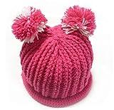 (ル・タン)Le TEMPS ハンドメイド ベビー用ニット帽子 ボンボン付 1~3歳用 9(ピンク×ホワイト)