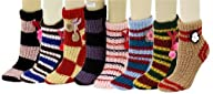 Fashion Mic's 3D Slipper Socks With Rubber Grips 6 Pairs