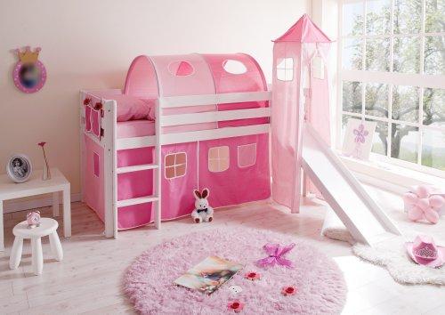 Rutschbett Kasper Classic Farbe (Gestell): Weiß lackiert, Farbe (Textil): Rosa-Pink, Kindermatratze / Rollrost / Tunnel: Ohne / Mit / Ohne