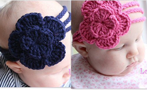 Love Crochet Art Combo of Crochet Baby Headband For New Born Baby (Pink & Blue)  available at amazon for Rs.149