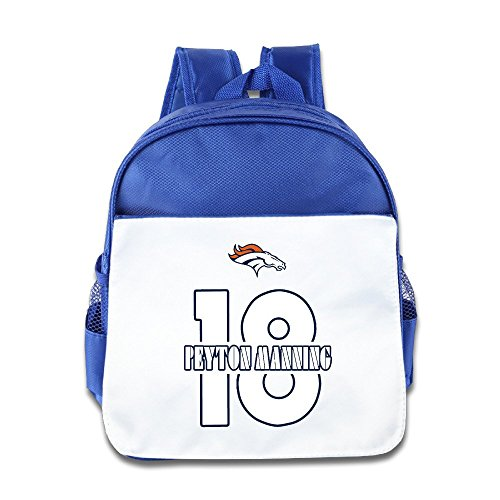 Jade Custom Funny Denver Peyton 18# Manning Boys And Girls School Bag Backpack For 1-6 Years Old RoyalBlue