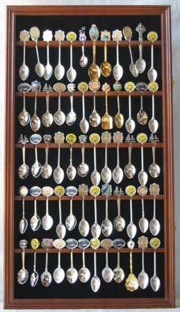60 Spoon Rack Spoon Display Case Holder Cabinet, with glass door, WALNUT Finsh (SP02-WA)