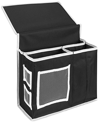 Bedside Caddy Storage Organizer 6 Roomy Pockets. The bedside caddy is durable and hangs over the side of your mattress and holds items like books, magazines, flashlights, accessories and medications (Side Of The Bed Storage compare prices)