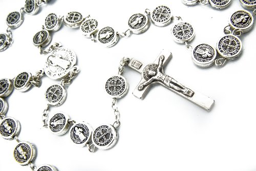 Mens Womens Rare Silver St Saint Benedict Catholic Exorcism Protect Rosary Medal Beads
