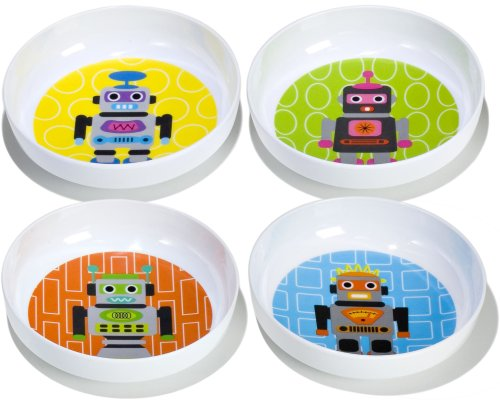 French Bull - BPA Free Kids Bowls - Melamine Kids Bowl Set - Kids Dinnerware - Robot, Set of 4